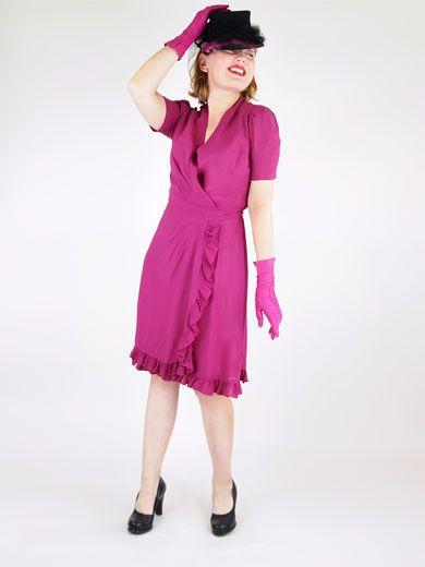 40s magenta-plum wrap dress sold by denisebrain