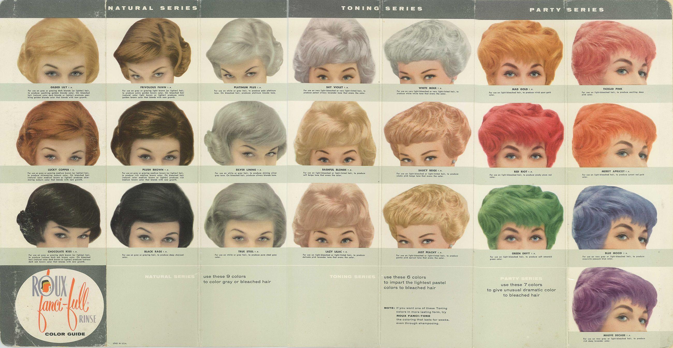 Vintage Roux Fanci Full Hair Color Chart Hair Color Chart Full Hair Vintage Hairstyles