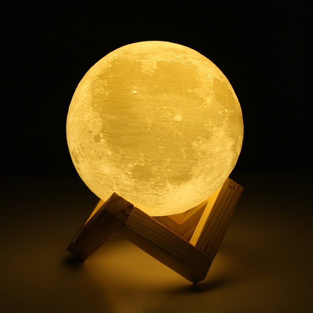 3d Printing Touch Two Color Lunar Light Smart Home Led Moon Light With Solid Wood Bracket Ad Ad Lunar Li Led Night Lamp Moon Nightlight Led Night Light