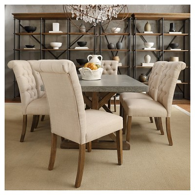 Gramercy Button Tufted Dining Chair Wood Oatmeal Set Of 2