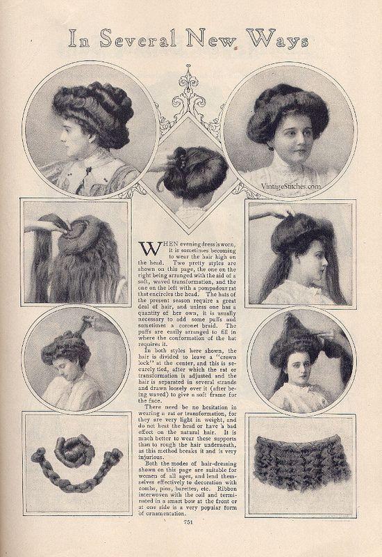 Un look impactante con peinados victorianos Colección De Consejos De Color De Pelo - May 1908 The Delineator en 2020   Pelucas y postizos ...