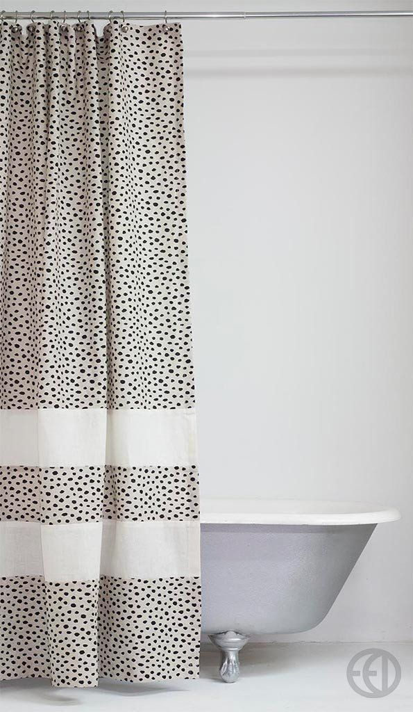 Extra Long Linen Shower Curtain With Black And Ivory Speckles Hemp Banding Beige Background