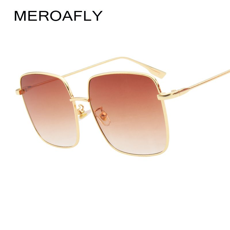 e8811c18b52 MEROAFLY Square Sunglasses Women Men Brand Designer Vintage Retro 2018  black brown Gradient Sun Glasses Female Flat Top Shades