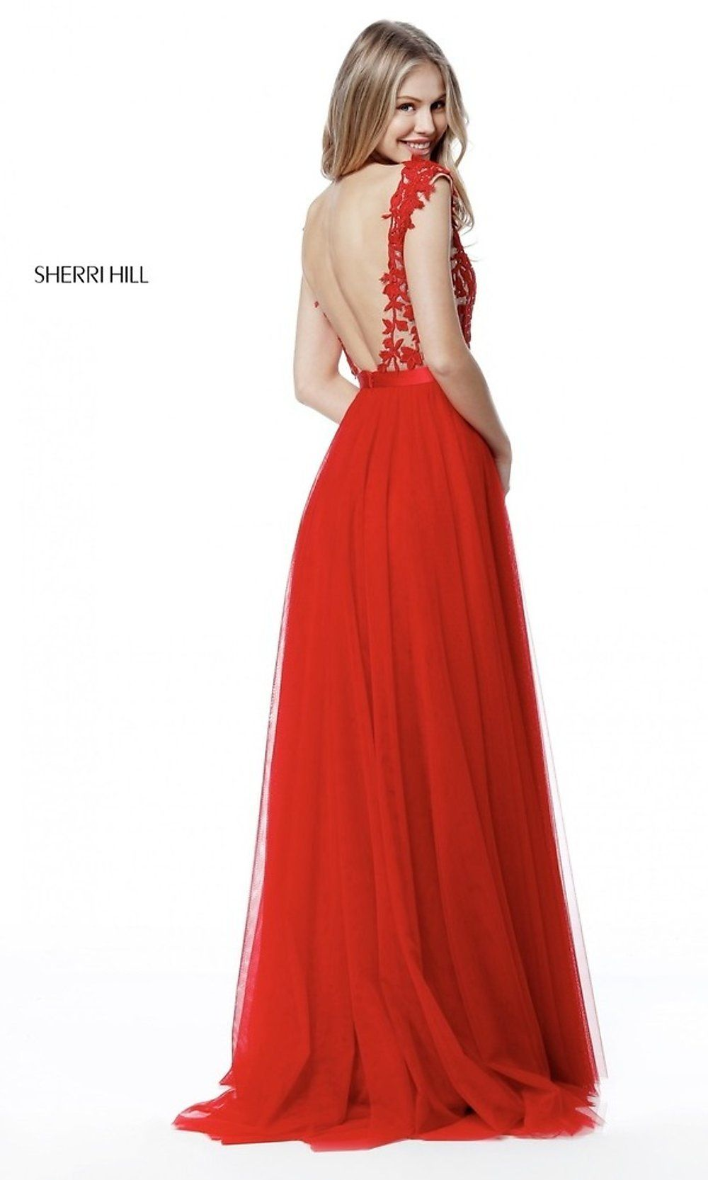 34190c3f505 Sherri Hill Open-Back Long Prom Dress with Embroidery in 2019