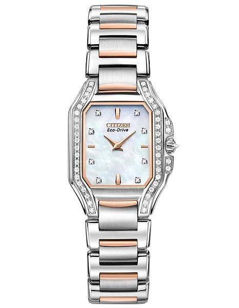 Citizen Signature Ladies Fiore 53 Diamond Watch - Steel and Rose Tone - MOP Dial
