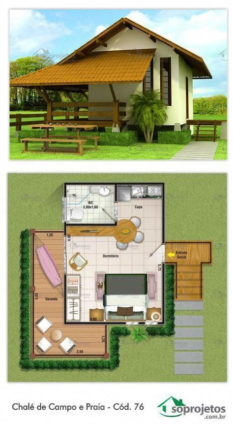 Charmoso Chale 35 14 Metros Quadrados Projeto De Chale Com Ampla Varanda De Casasrusticas Tiny House Design Small House Design House Layouts
