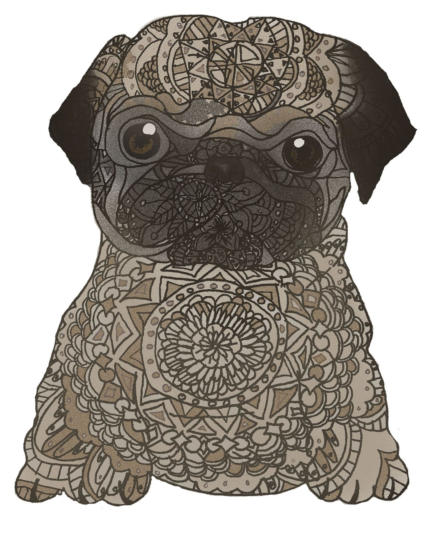 Pugala Pug Drawing Puppy Dog Cute Animal Mandala Nsvtwork