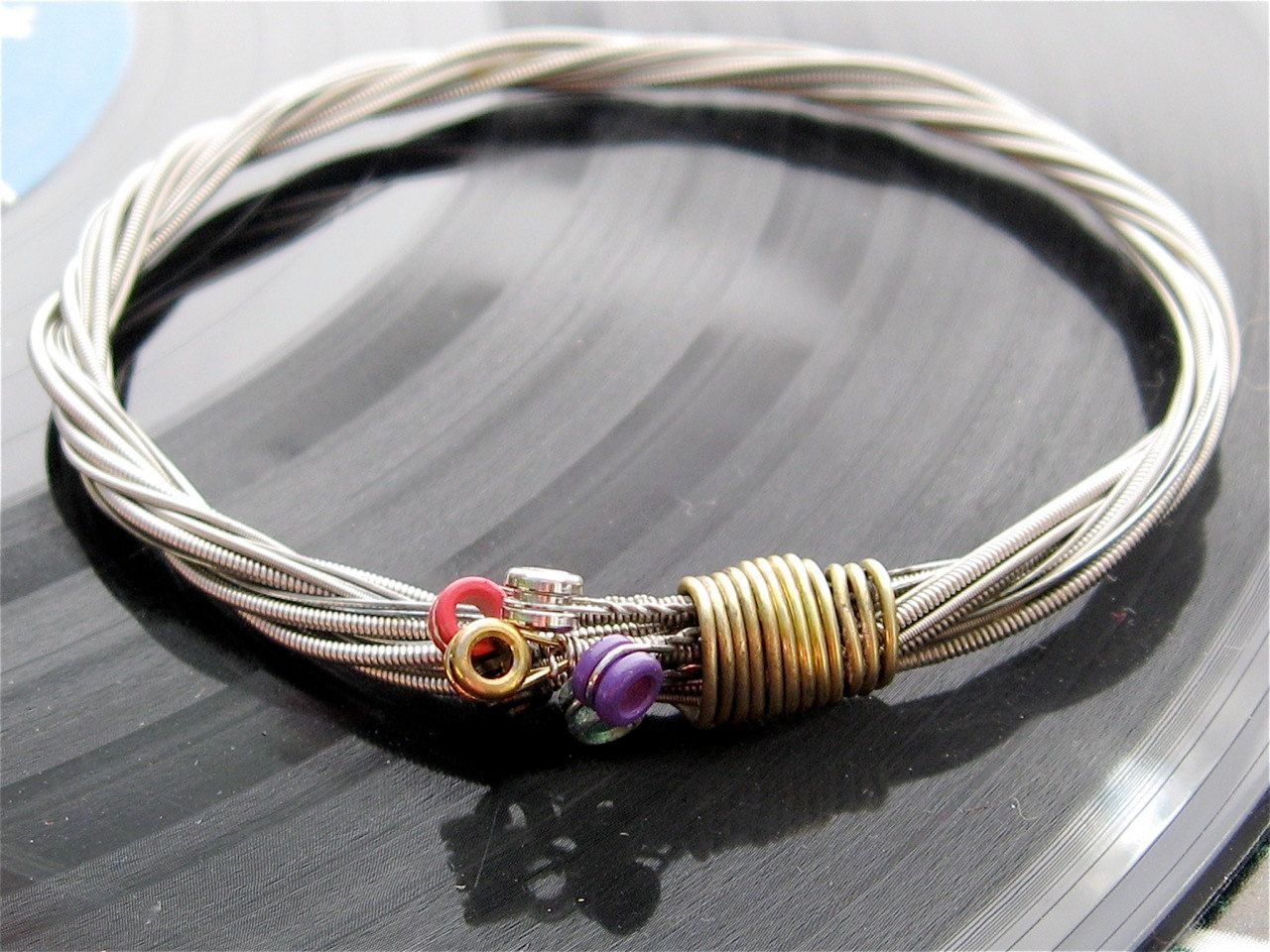 Electric Guitar String Bracelet Silver Colored With Colored Ball