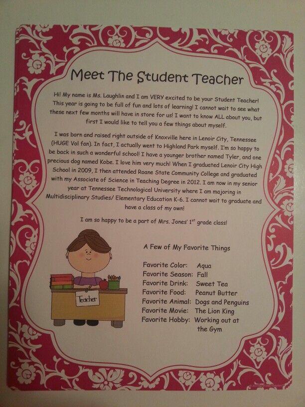 Student Teacher Letter   Student Teacher    Teacher