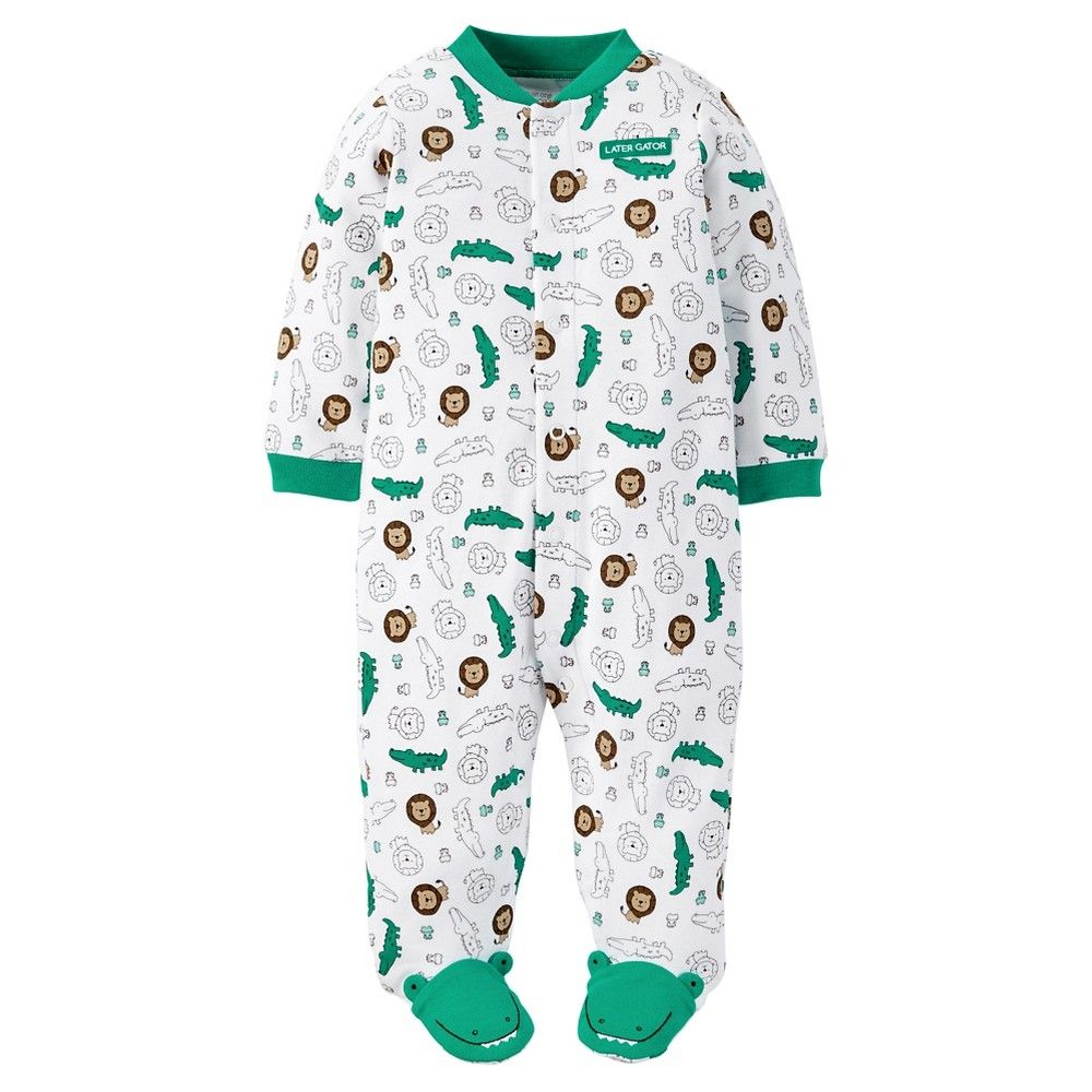 b3cf5dbac Just One You Made by Carter's Baby Boys' Animal Print Sleep N' Play -  White/Green 6M, Infant Boy's, Size: 6 M, Nettle Green