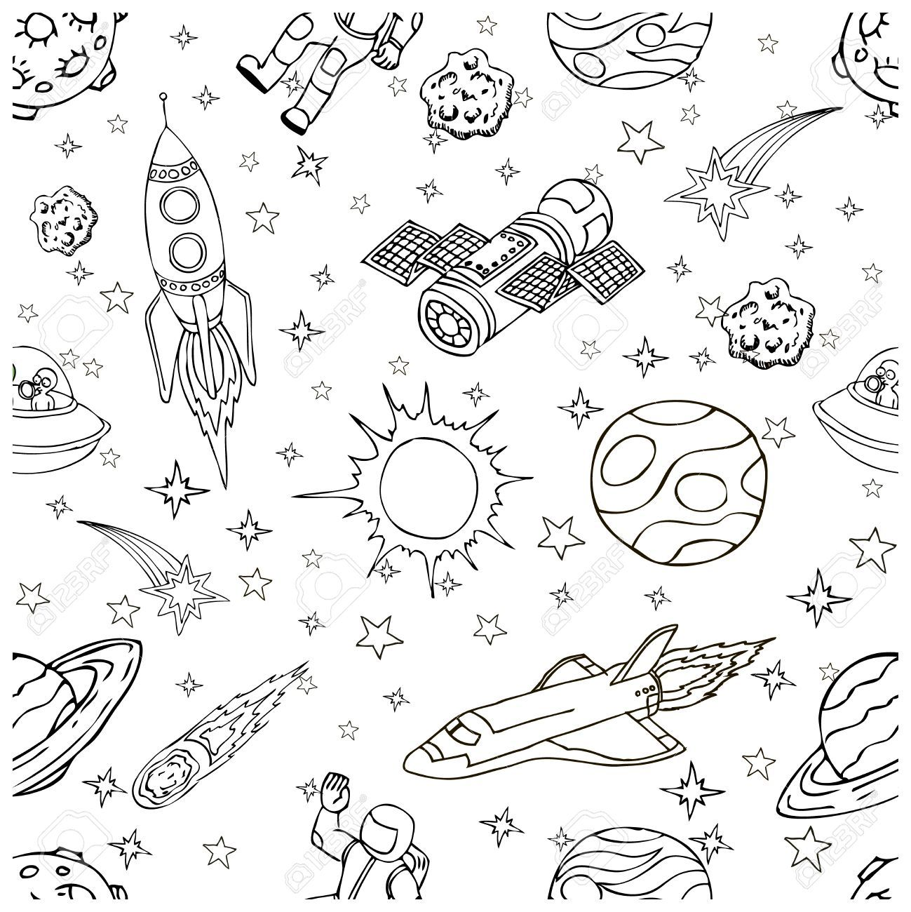 Outer Space Doodles Symbols And Design Elements