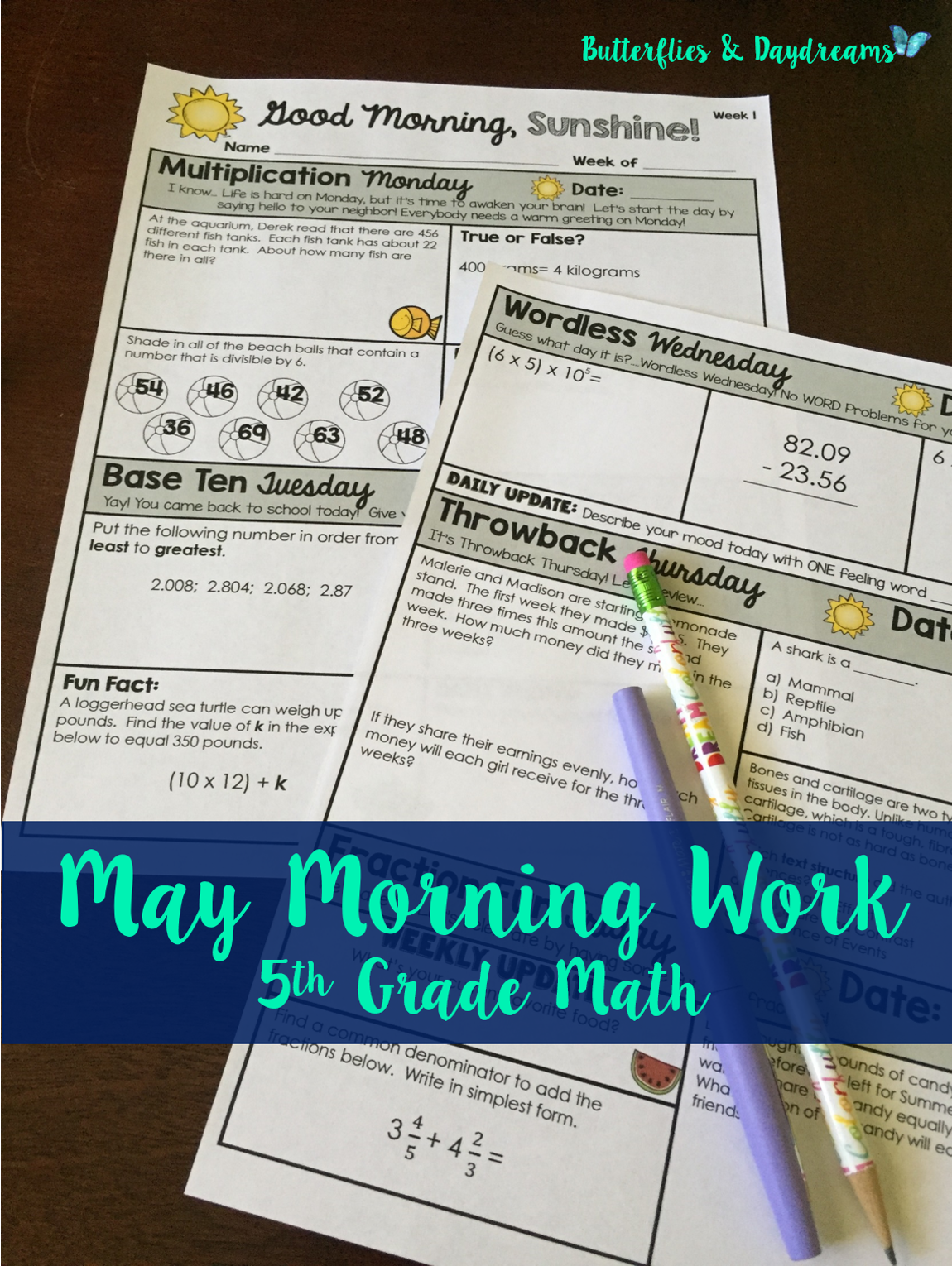 Good Morning, Sunshine! Math Morning Work for 5th Grade {May ...
