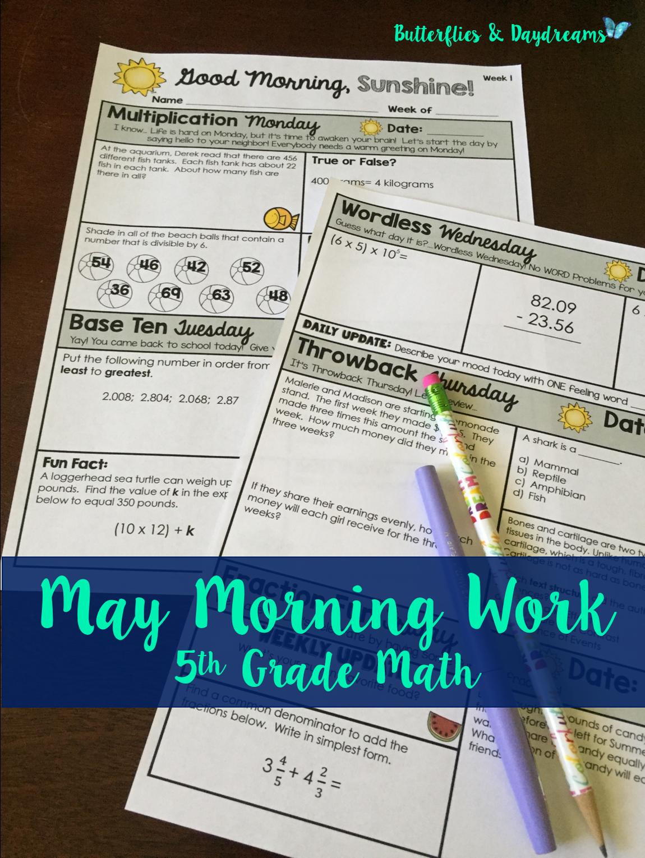 Math Morning Work 5th Grade May