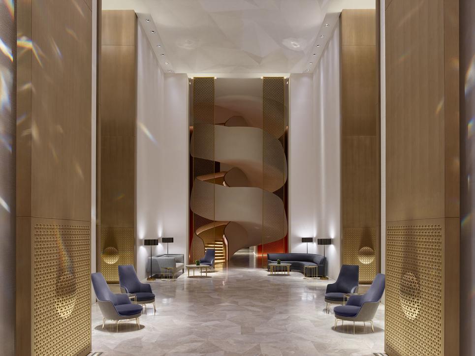 Yabu Pushelberg Four Seasons Kuwait Four Seasons Hotel Design Hotels Luxury Hotels Hotel Interior Design Yabu Staircase Design