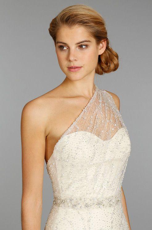 Sheer One Shoulder Bridesmaid Dress