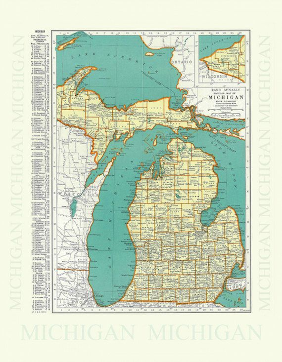 Vintage Michigan Map Shower Curtain In Two Sizes By Mymichigan
