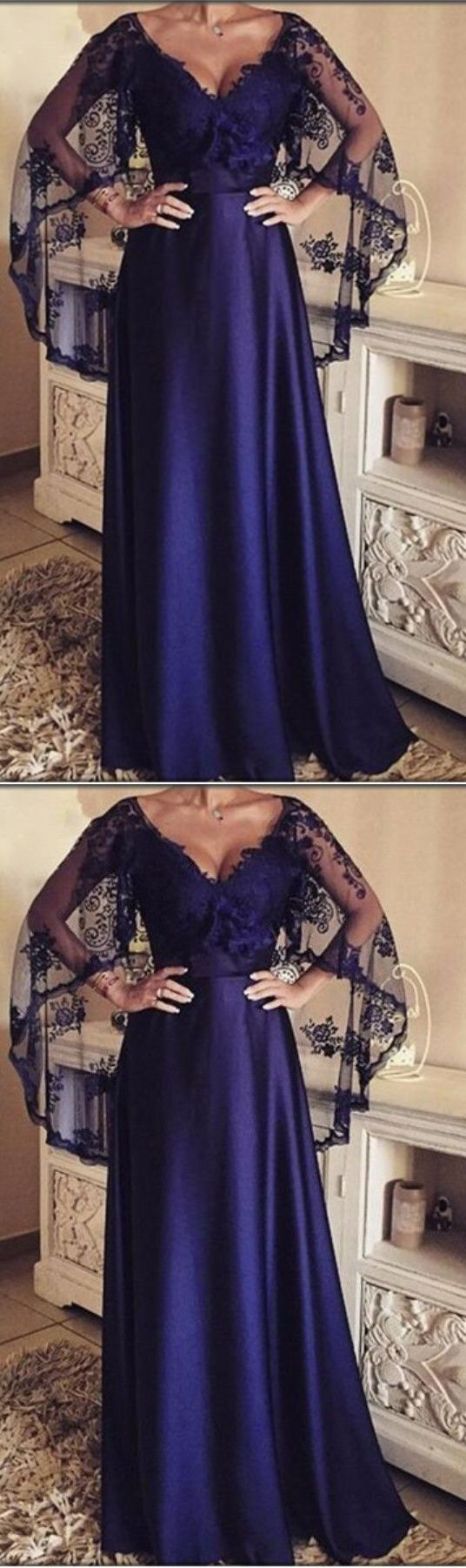 Sexy elegant evening dressvneck long evening dresses with lace