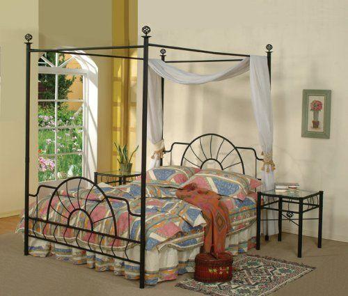 Black Metal Sunburst Canopy Bed Full Size (Bed) Frame | Bed frames ...