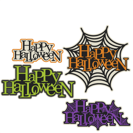 Happy Halloween Title Set SVG scrapbook cut file cute clipart ...