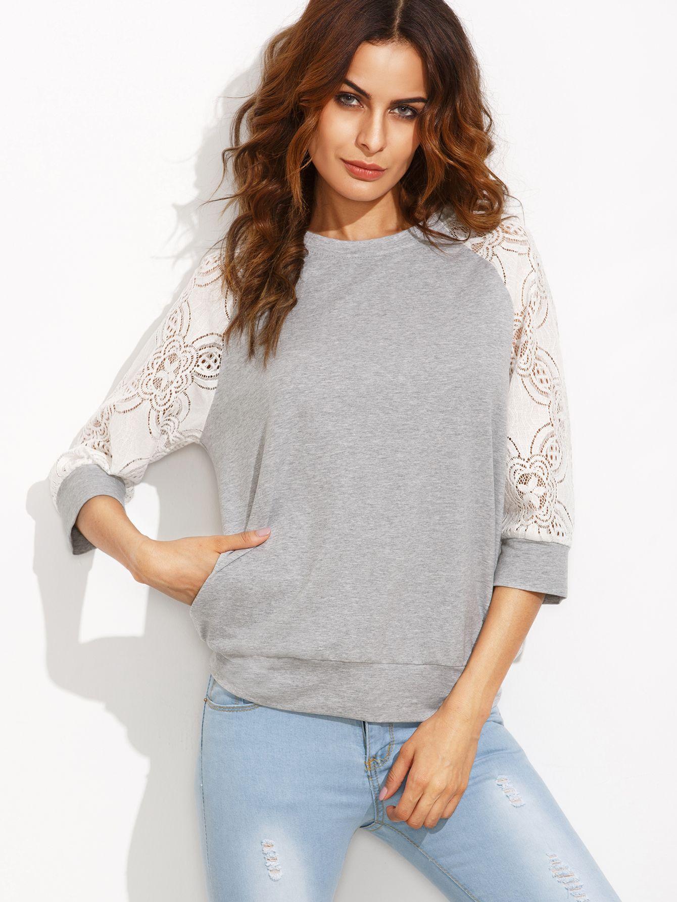Heather+Grey+Contrast+Lace+Raglan+Sleeve+Sweatshirt+21.00