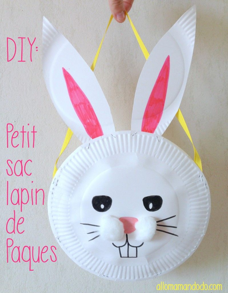diy petit sac lapin de p ques avec des assiettes en carton diy paques lapin et activit s enfants. Black Bedroom Furniture Sets. Home Design Ideas