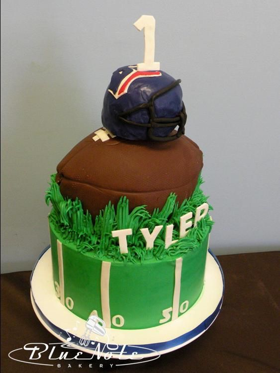 Houston Texans 1st birthday cake smash cake football Blue Note