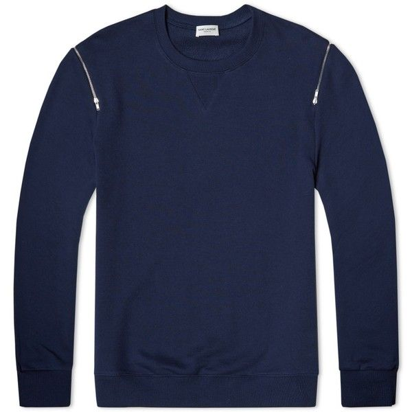 Saint Laurent Zip Crew Sweat (4.983.510 IDR) ❤ liked on Polyvore featuring men's fashion, men's clothing, men's hoodies and men's sweatshirts