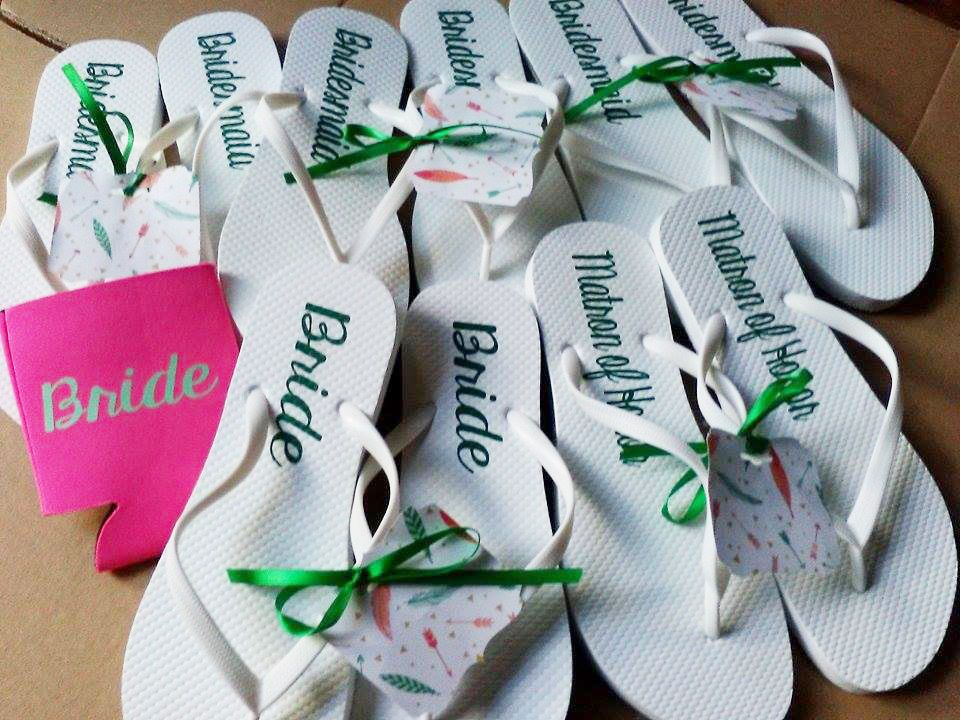 033a4f517 Personalized White Flip flops