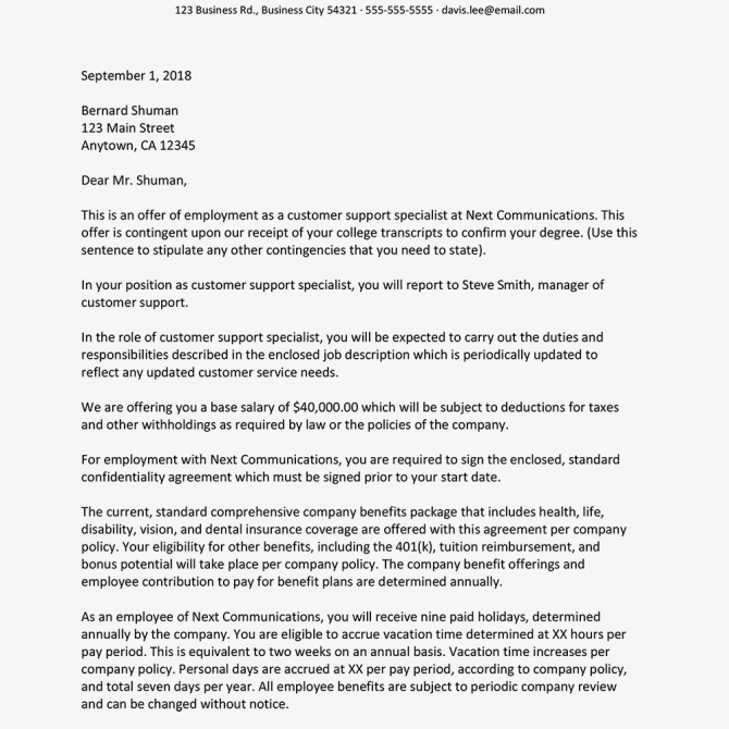 Employment Offer Letter Letter Templates Professional Cover Letter Template Letter Example