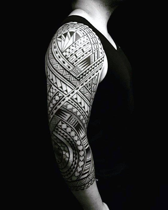 50 Polynesian Half Sleeve Tattoo Designs For Men Tribal Ideas Tribal Tattoos Half Sleeve Tribal Tattoos Half Sleeve Tattoos Designs