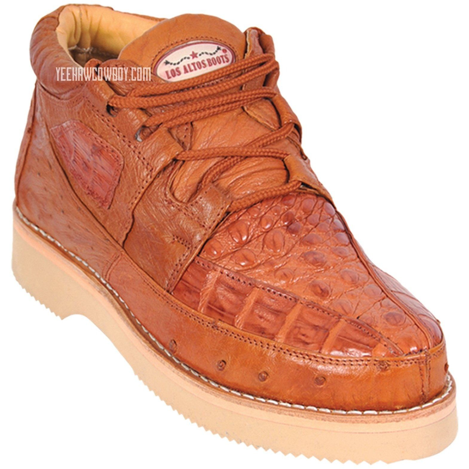 Los Altos Kid/'s Genuine Caiman w// Ostrich Lace Up Casual Exotic Shoes
