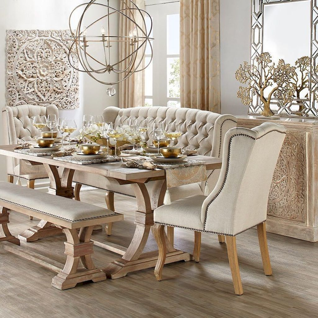 50 Gorgeous Farmhouse Dining Room Table And Decorating Ideas 5bacbbadd9275 With Images French Country Dining Room Decor Dining Room Decor Country Country Dining Rooms