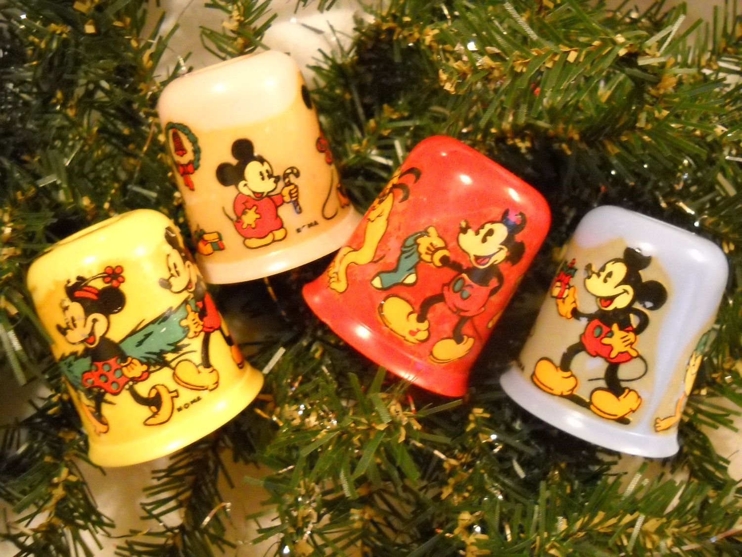 Mickey Mouse c1936 4 Light Set Replacement Shades by NOMA Red ...