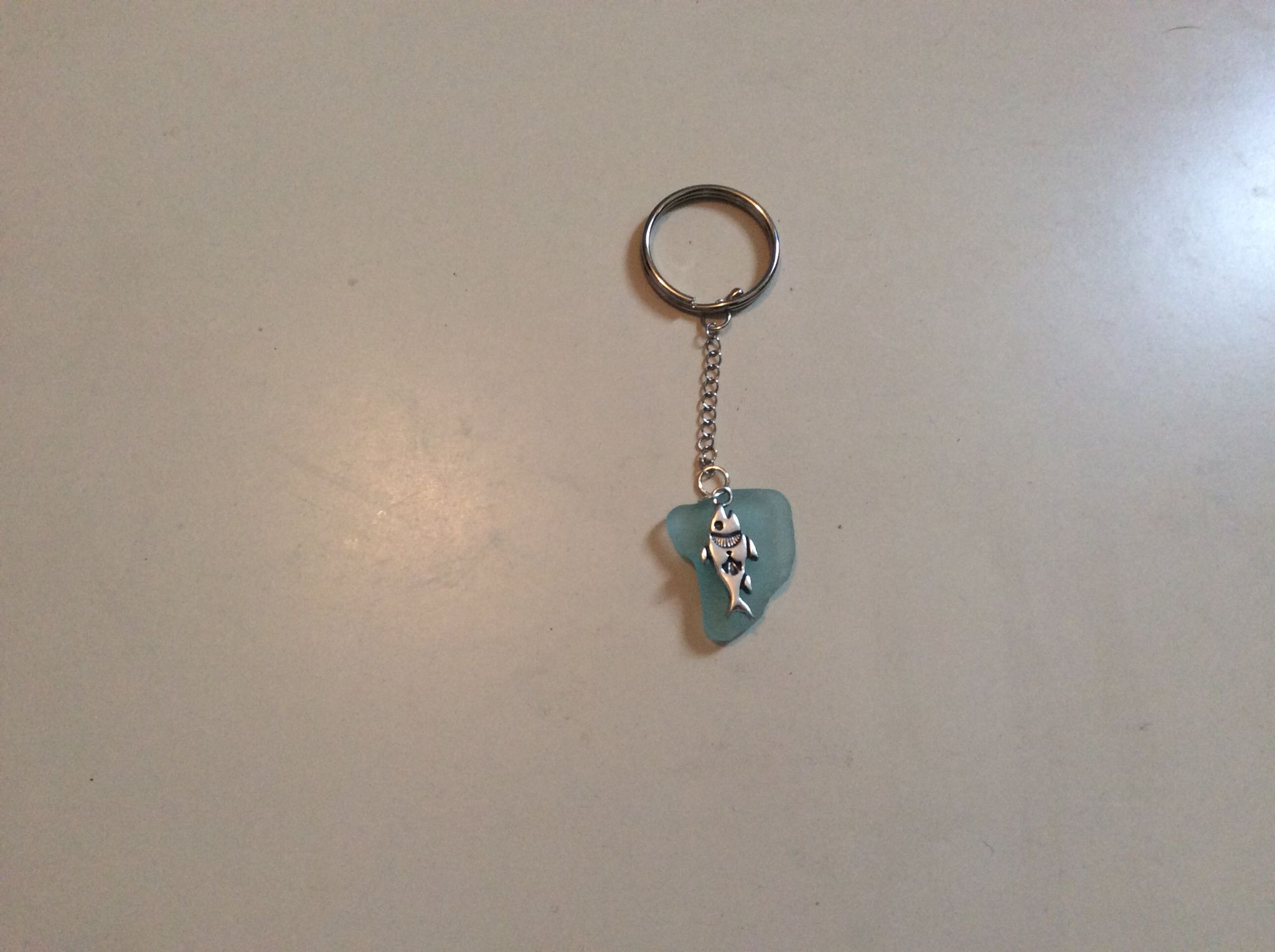 Fish keyring. (Before drilled and fastened together)