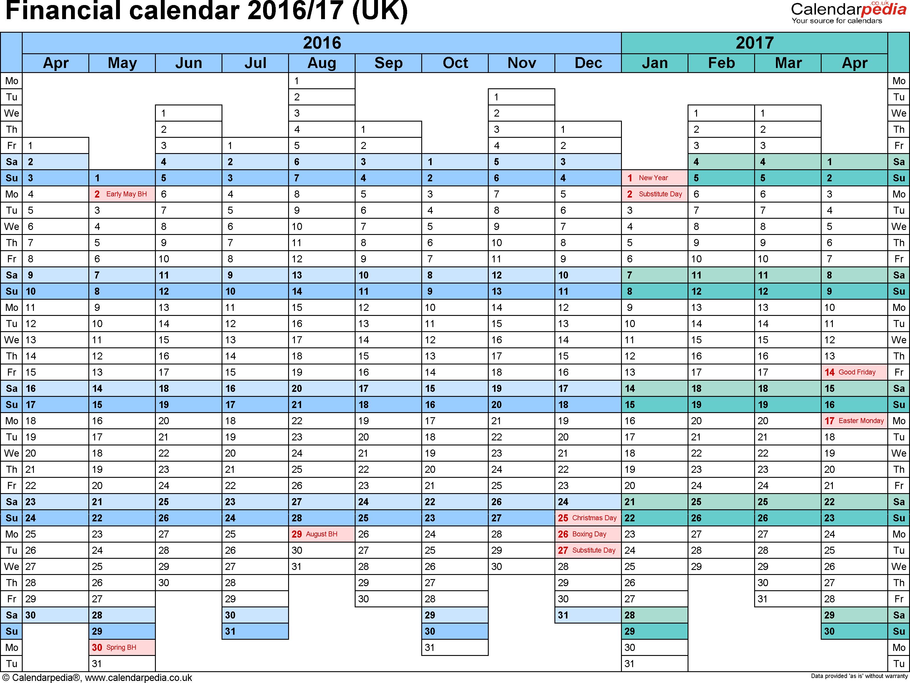 Template 1 Word Template For Financial Calendar