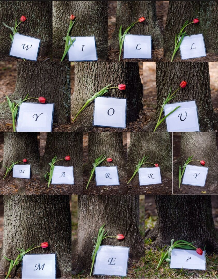 Springtime Proposal With Flowers Next To Each Letter On Different