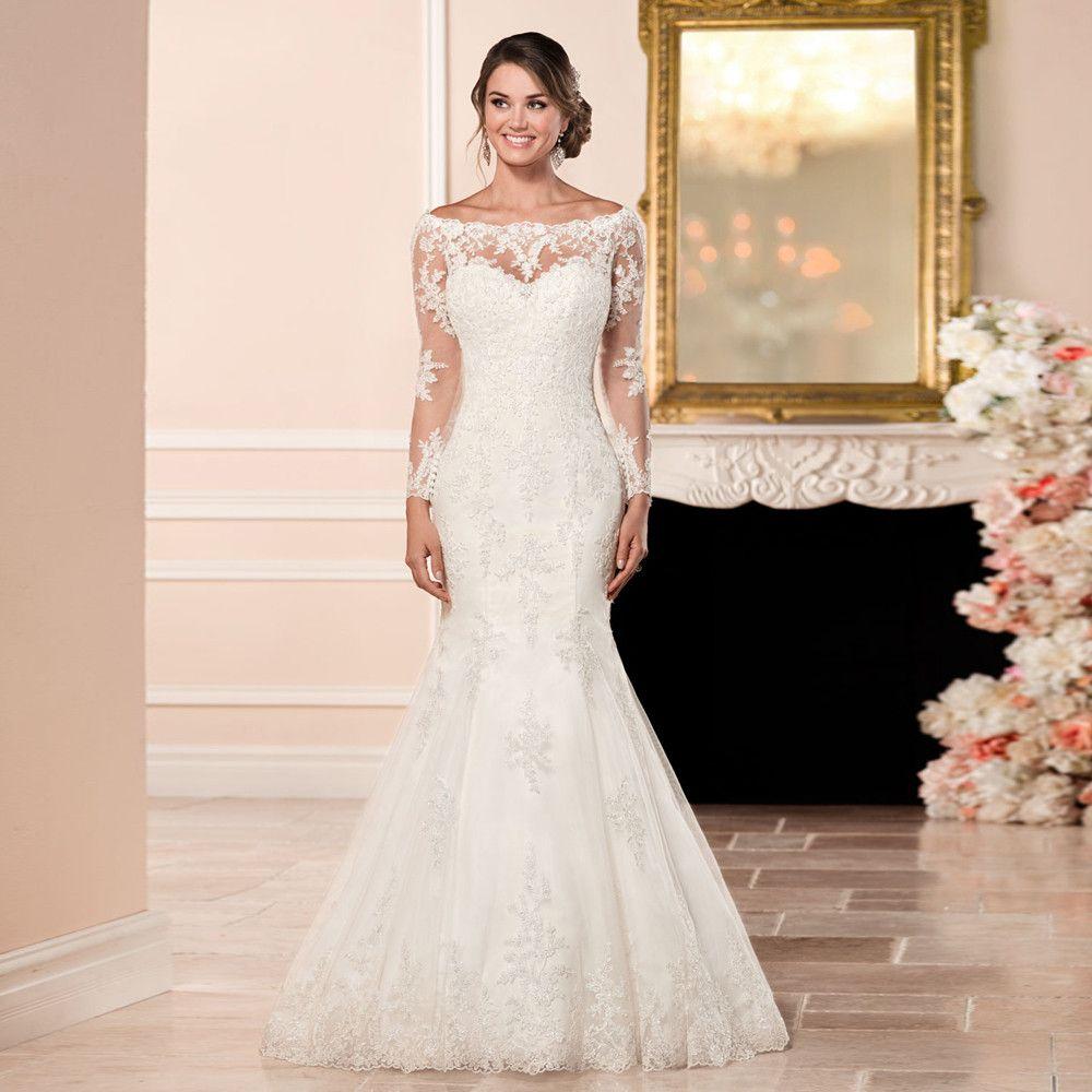 Click to buy ucuc robe de mariage long sleeves mermaid wedding dress