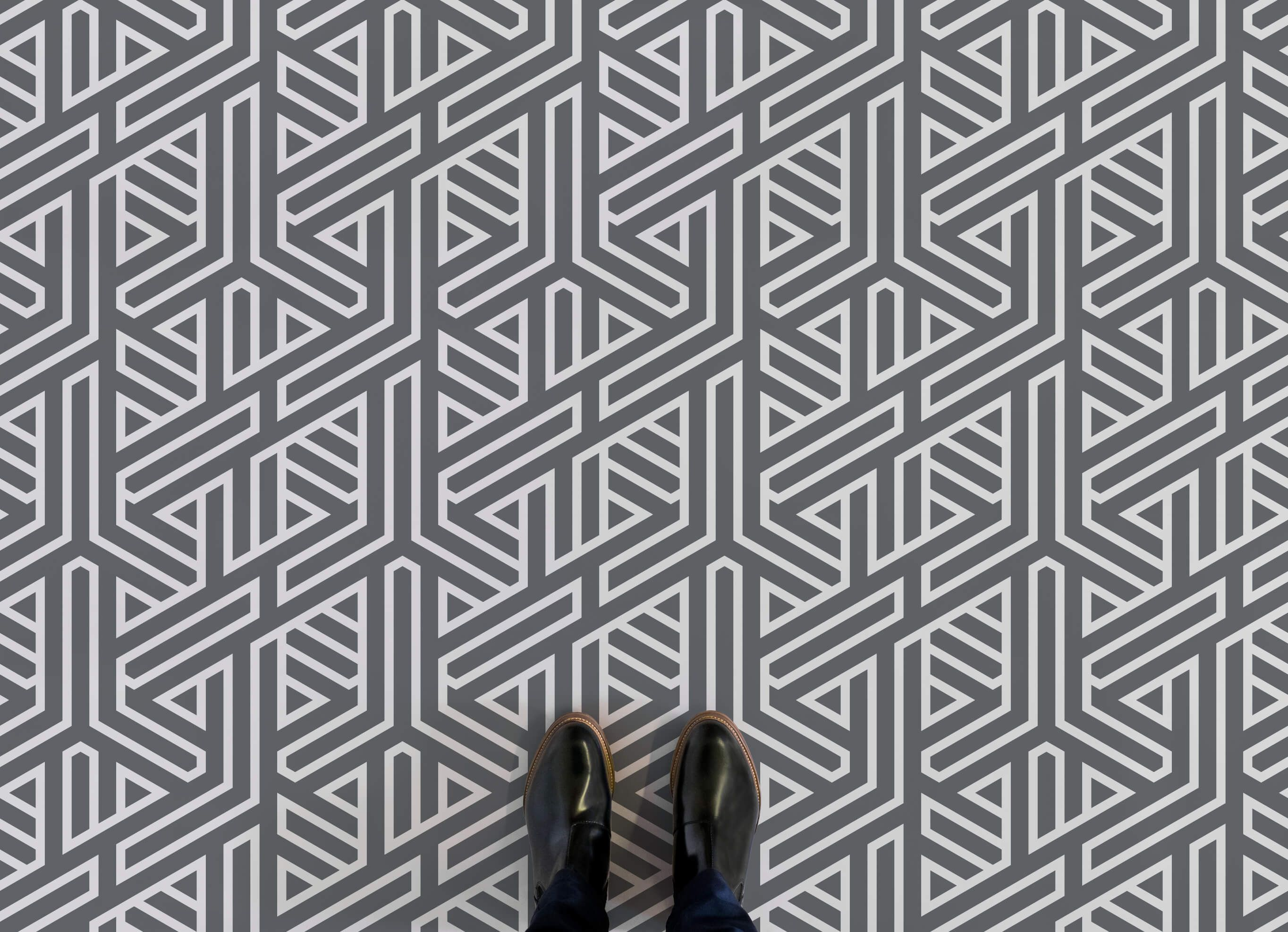 Abstract Line Pattern Flooring