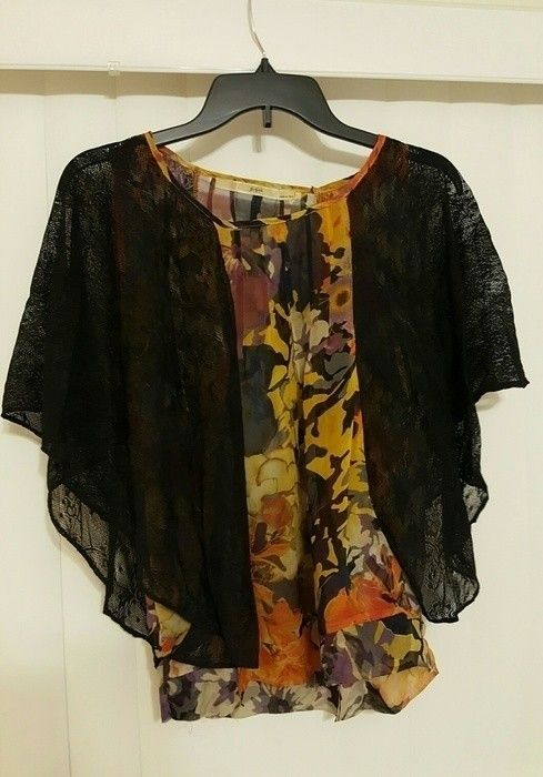 Gibson Floral Silk Blouse Top with Contrast Black Lace Sleeves - Size S