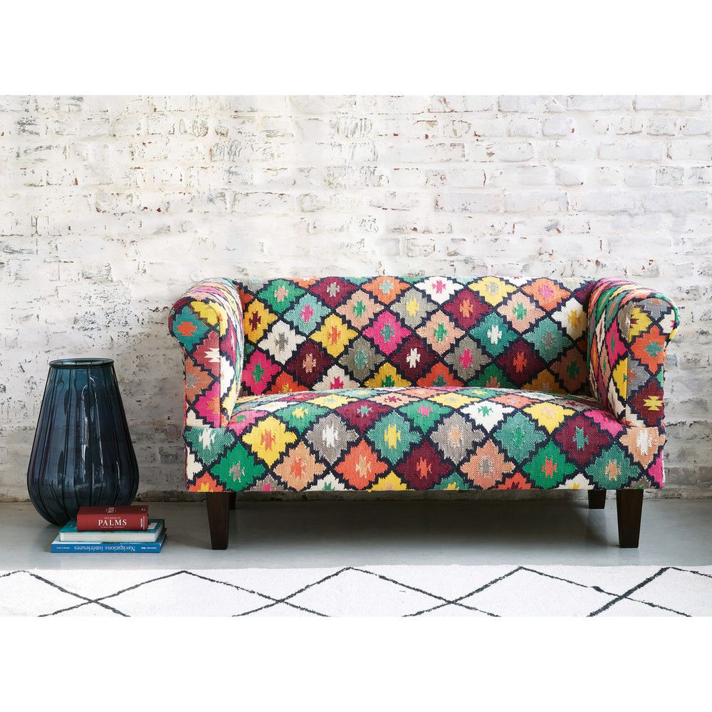 Canape 2 3 Places En Tressage Kilim Multicolore Maisons Du Monde Canape Multicolore Mobilier De Salon Decoration Meuble