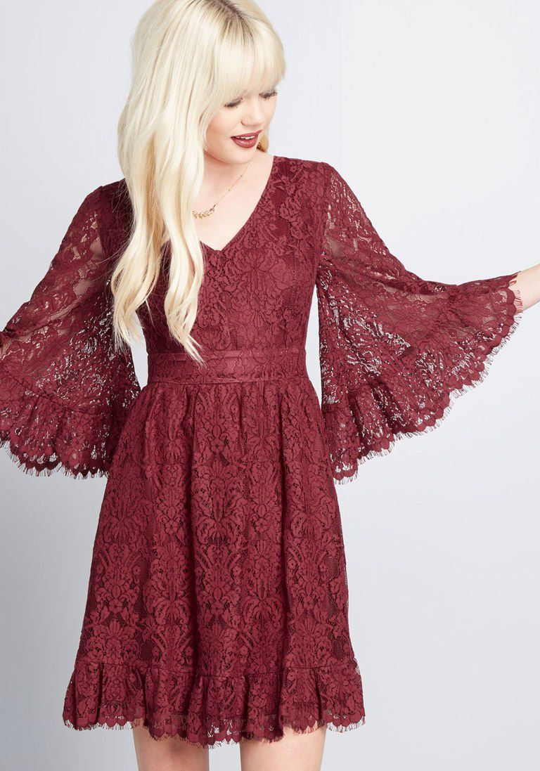 9991a9afe4f41 Through the Bluebells A-Line Dress in Burgundy Lace in XXS - Knee Length by  ModCloth