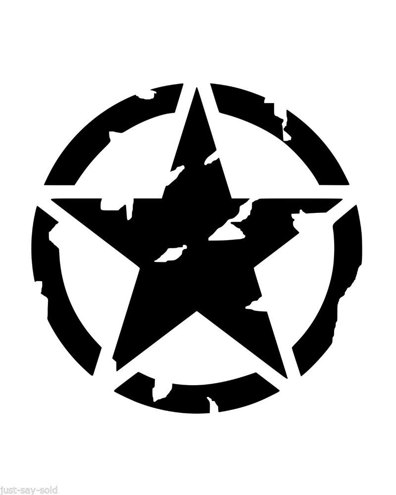 Distressed hood invasion circle star vinyl decal stickers jeep willys slct color
