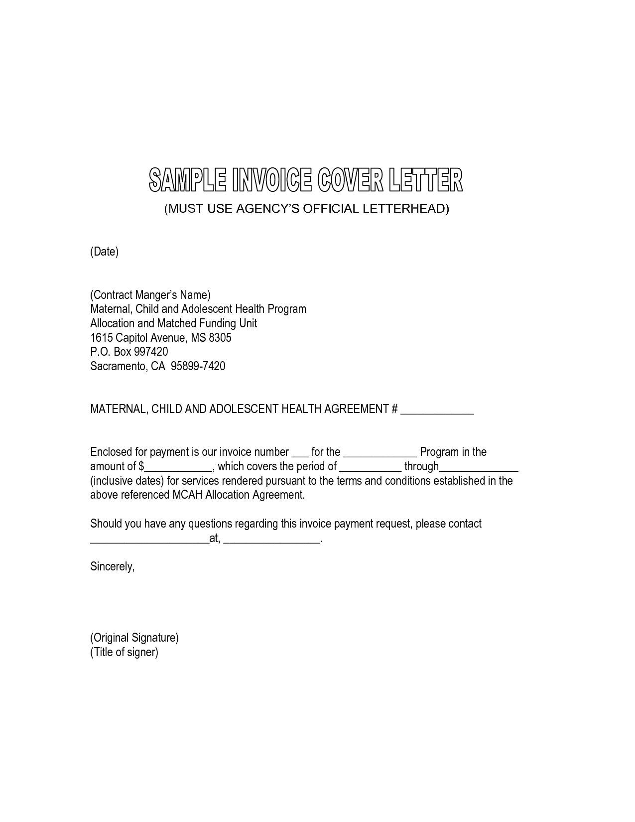 Cover Letter For Invoice Submission