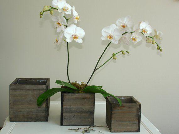Wood box woodland planter flower box rustic square pot phalaenopsis orchids vases for wedding wooden boxes rustic chic wedding #woodenflowerboxes