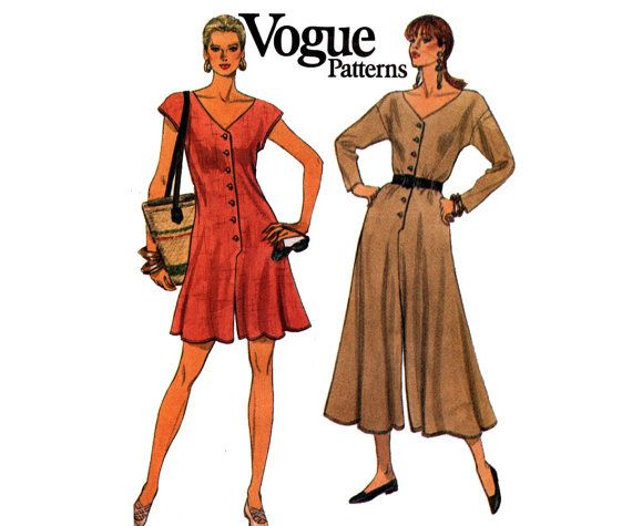 90s Vogue 8038 Womens Rompers Wide Legged Culotte Jumpsuit Vintage ...