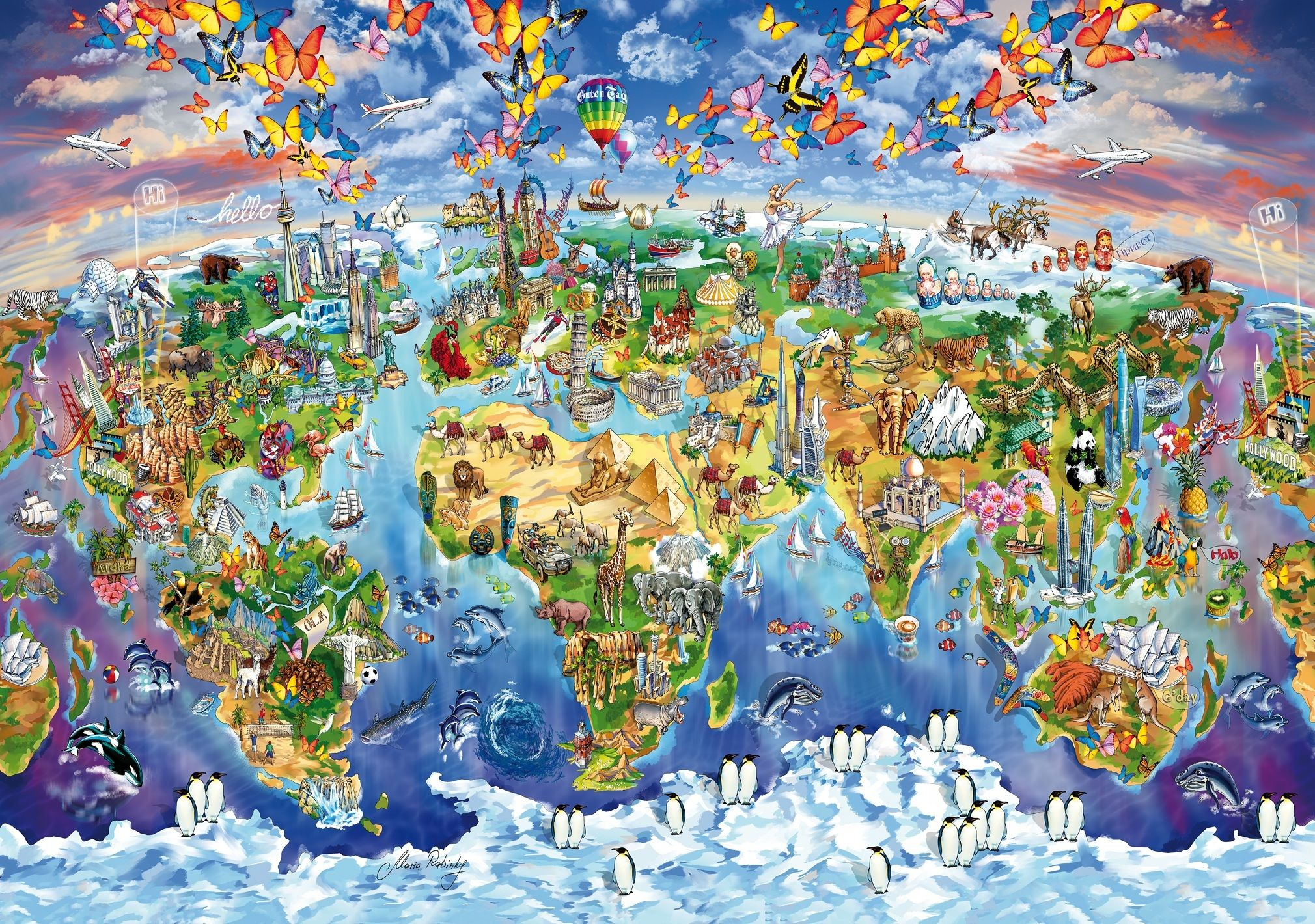 World Wonders All Wooden Jigsaw Puzzles In 2019 Illustrated Map