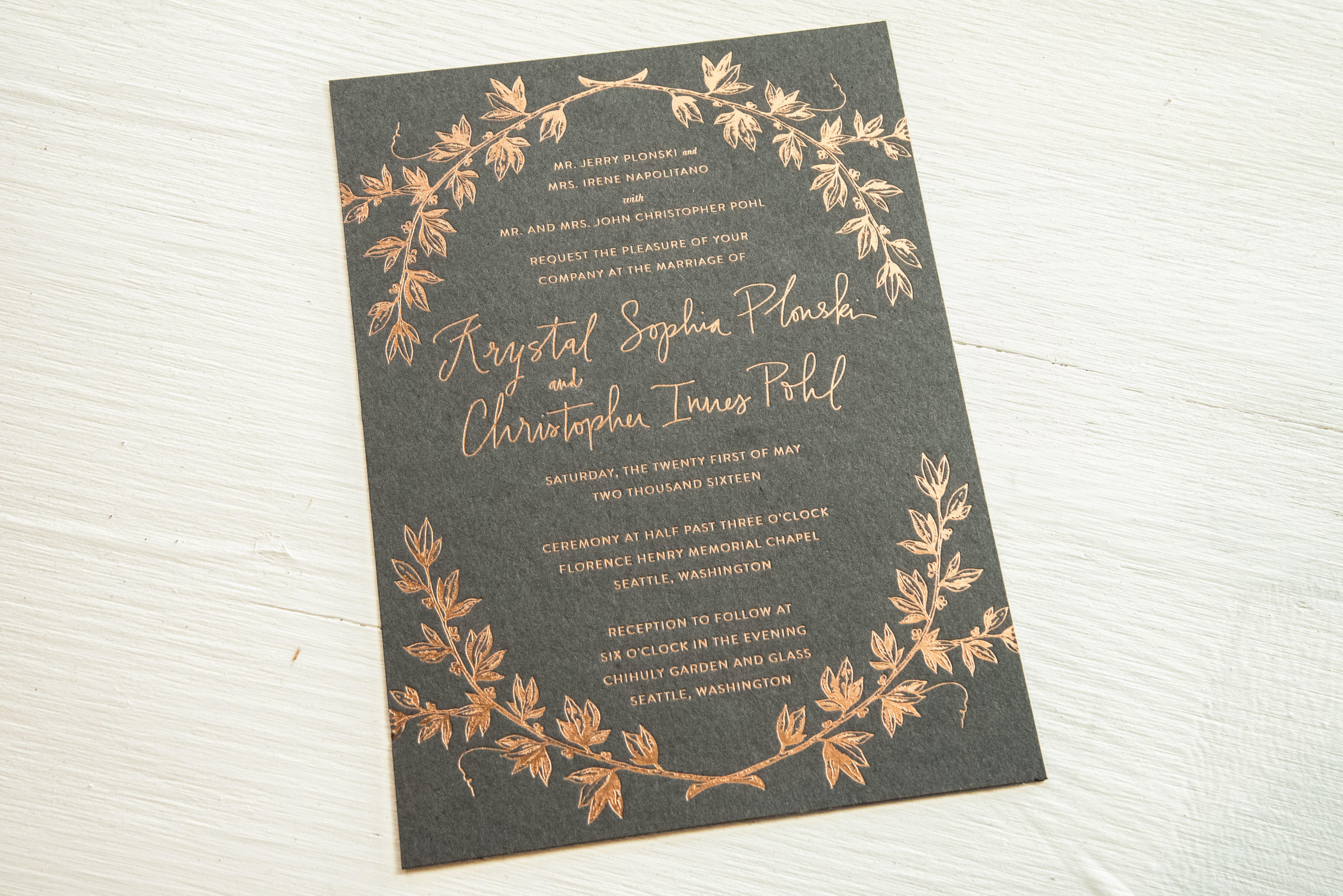 Foil letterpress wedding invitation letterpress wedding