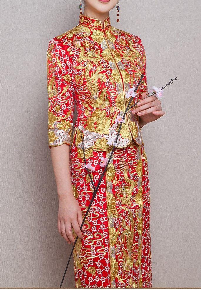 Chinese Wedding Gown Dress Emboridery Phoenix Wedding Qun Kwa