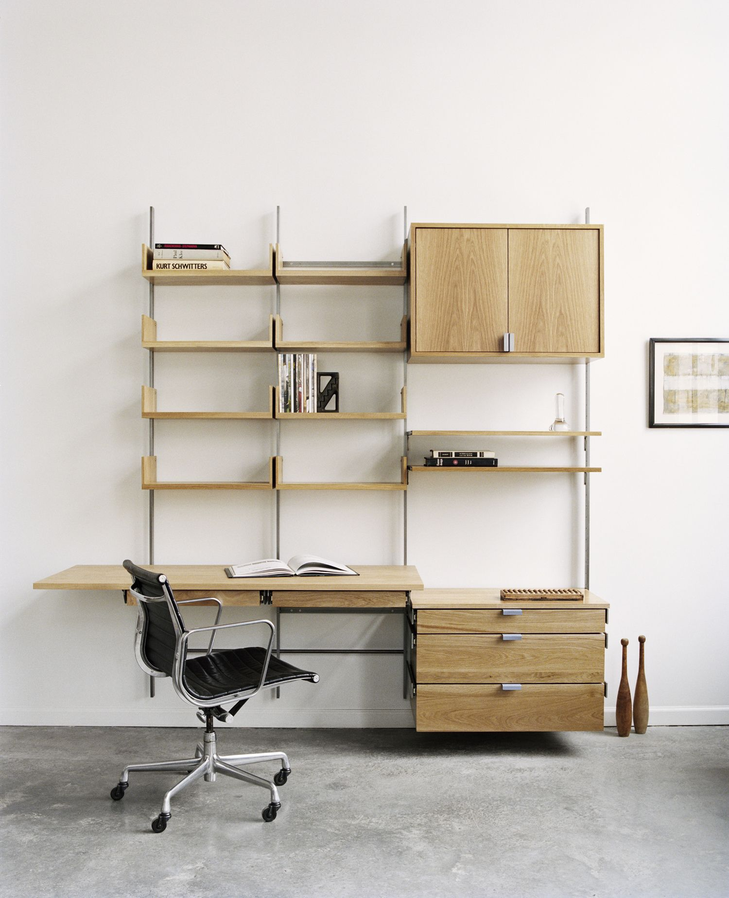 Solid white oak & cold-rolled steel desk configuration. Photograph ...