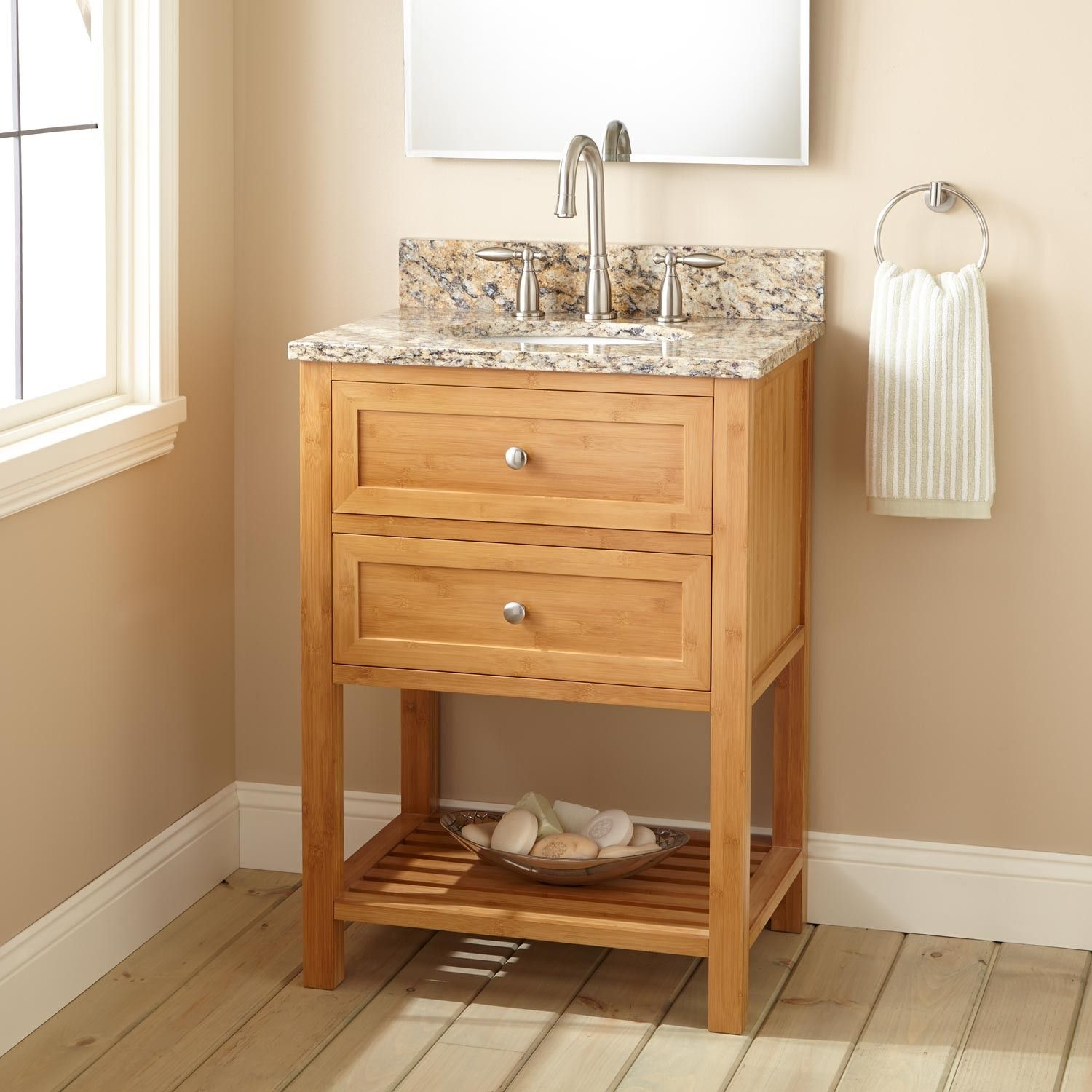 "24"" Narrow Depth Taren Bamboo Vanity For Undermount Sink Impressive Narrow Depth Bathroom Vanity Design Inspiration"